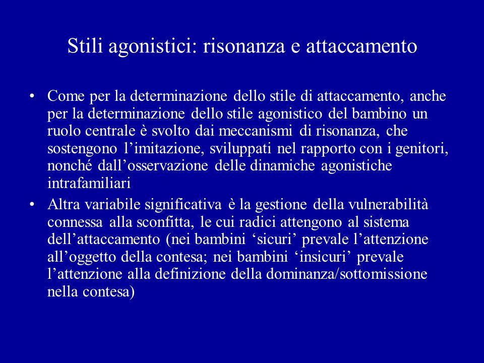 Stili agonistici: risonanza e attaccamento Come per la determinazione dello stile di attaccamento, anche per la determinazione dello stile agonistico