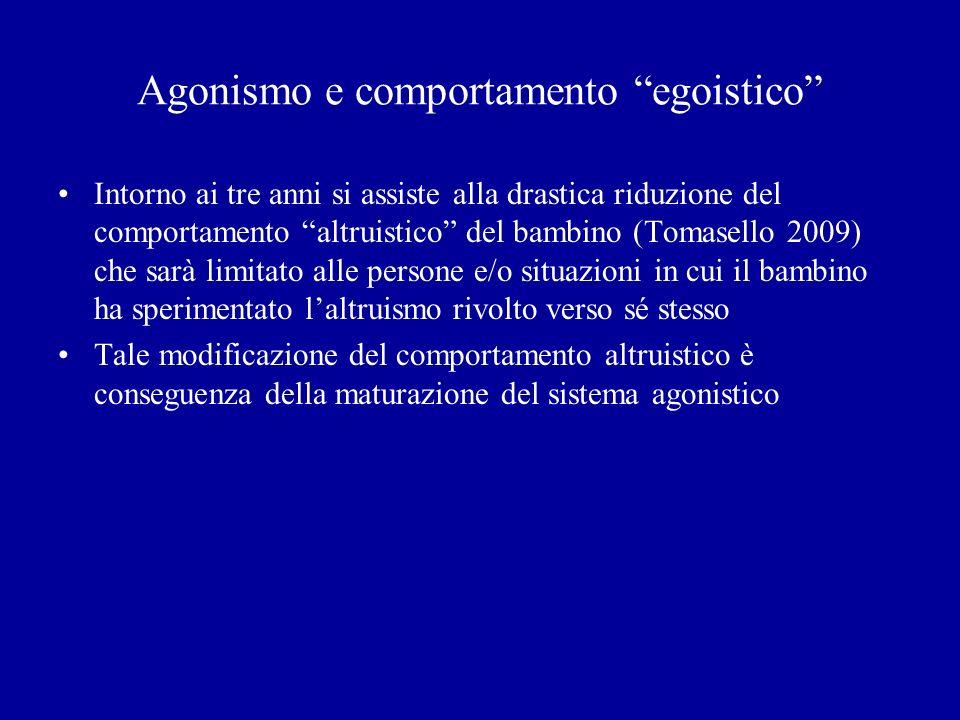 Agonismo e comportamento egoistico Intorno ai tre anni si assiste alla drastica riduzione del comportamento altruistico del bambino (Tomasello 2009) c