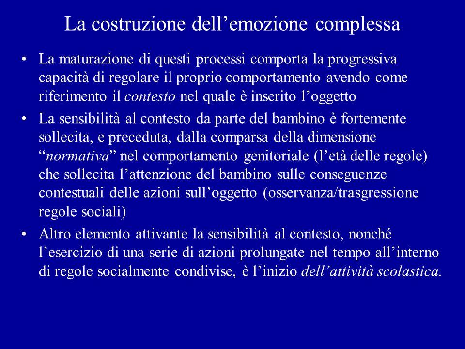 La costruzione dellemozione complessa La maturazione di questi processi comporta la progressiva capacità di regolare il proprio comportamento avendo c