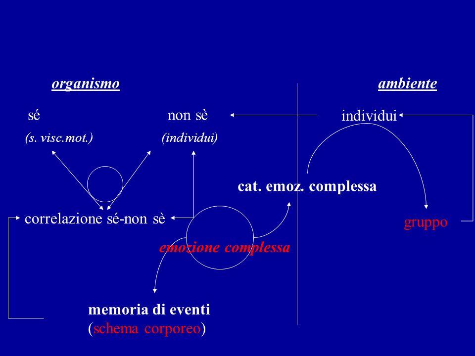 organismo ambiente sé non sè individui (s. visc.mot.) (individui) correlazione sé-non sè cat. emoz. complessa emozione complessa memoria di eventi (sc