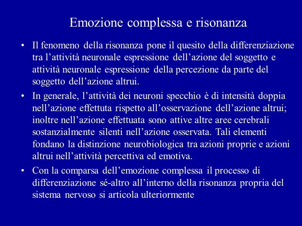 Emozione complessa e risonanza Il fenomeno della risonanza pone il quesito della differenziazione tra lattività neuronale espressione dellazione del s