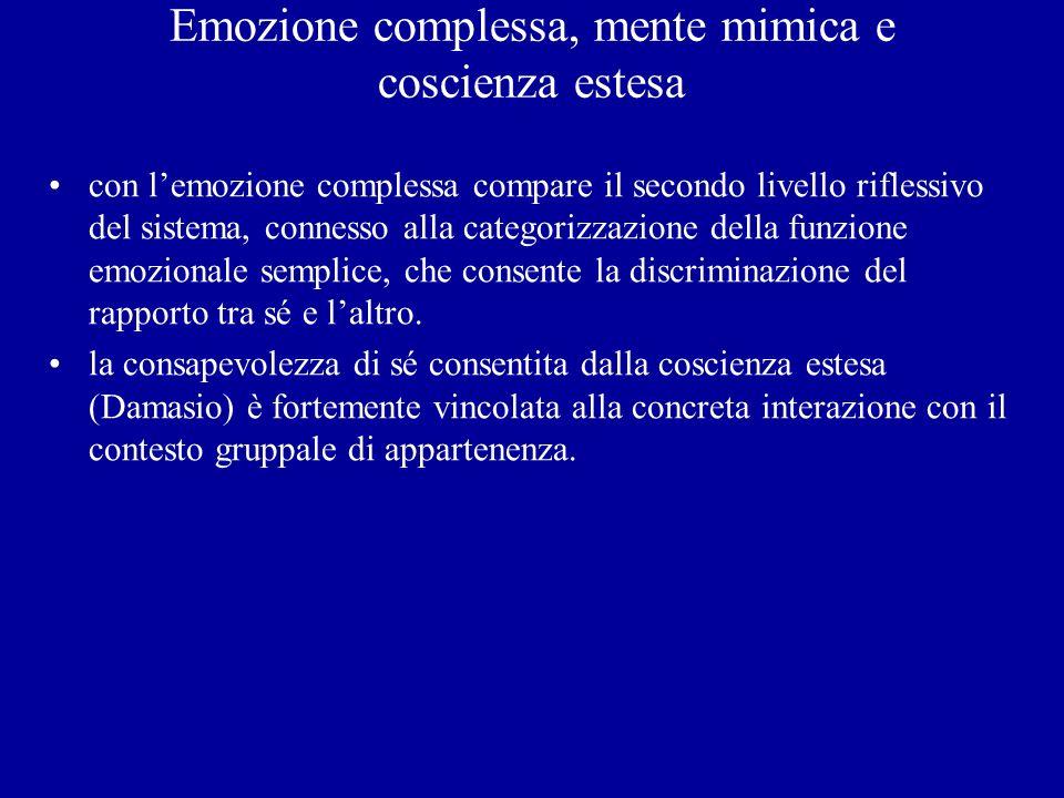 Emozione complessa, mente mimica e coscienza estesa con lemozione complessa compare il secondo livello riflessivo del sistema, connesso alla categoriz