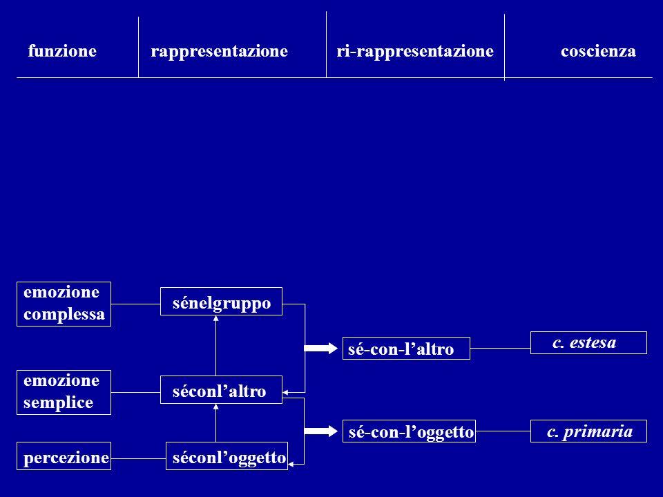 percezione emozione semplice emozione complessa séconloggetto séconlaltro sénelgruppo sé-con-loggetto sé-con-laltro c. estesa c. primaria funzione rap