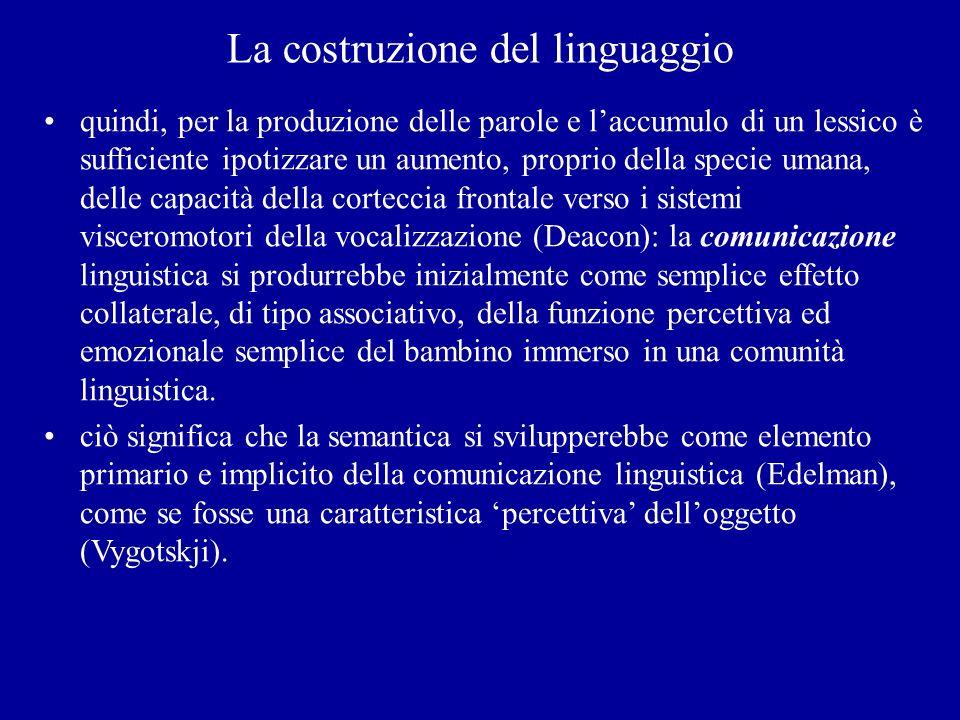La costruzione del linguaggio quindi, per la produzione delle parole e laccumulo di un lessico è sufficiente ipotizzare un aumento, proprio della spec