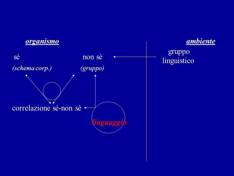 organismo ambiente sé non sè gruppo linguistico (schema corp.) (gruppo) correlazione sé-non sè linguaggio