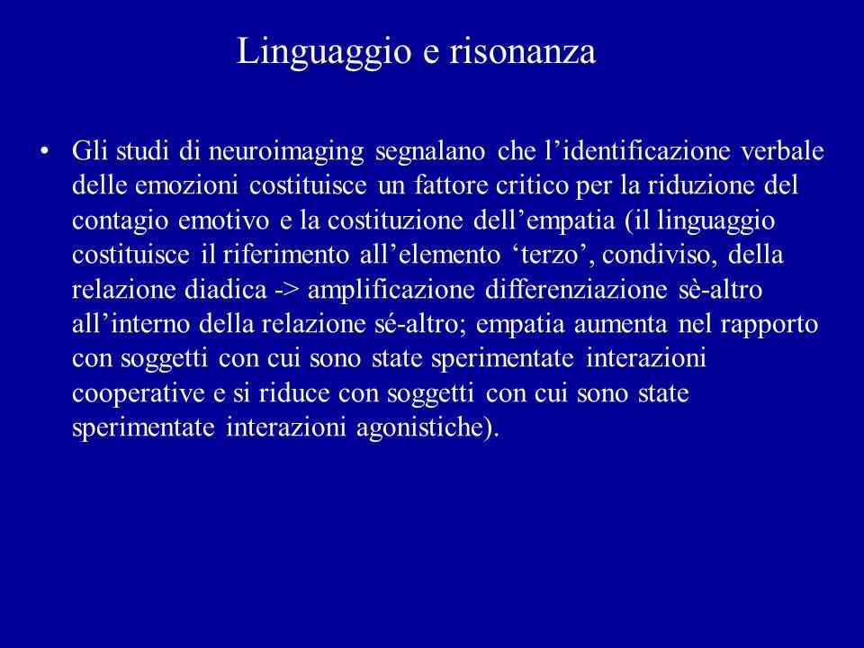 Linguaggio e risonanza Gli studi di neuroimaging segnalano che lidentificazione verbale delle emozioni costituisce un fattore critico per la riduzione