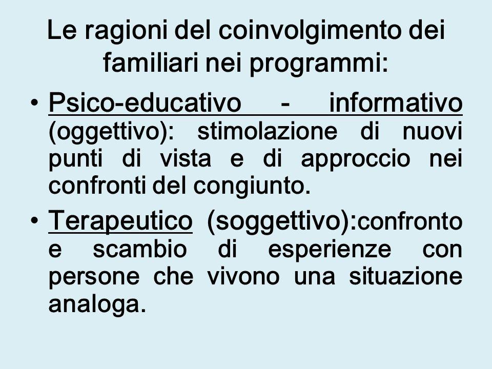 Le ragioni del coinvolgimento dei familiari nei programmi: Psico-educativo - informativo (oggettivo): stimolazione di nuovi punti di vista e di approccio nei confronti del congiunto.