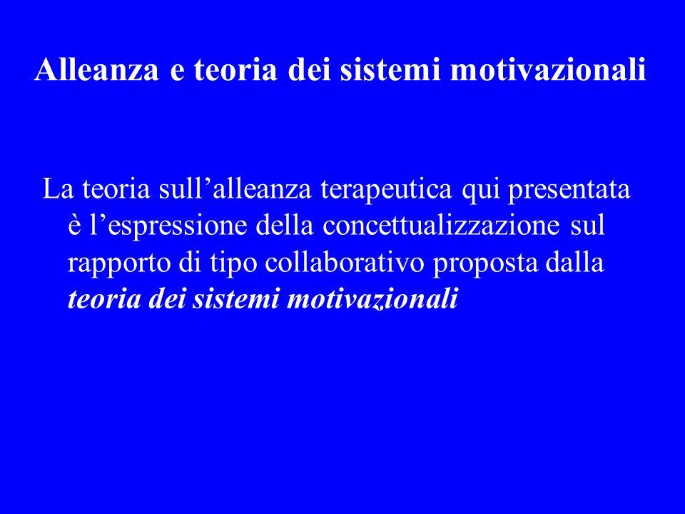 Alleanza e teoria dei sistemi motivazionali La teoria sullalleanza terapeutica qui presentata è lespressione della concettualizzazione sul rapporto di