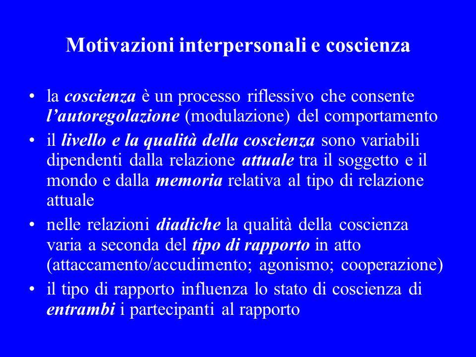 Motivazioni interpersonali e coscienza la coscienza è un processo riflessivo che consente lautoregolazione (modulazione) del comportamento il livello