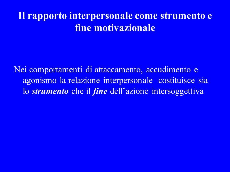 Il rapporto interpersonale come strumento e fine motivazionale Nei comportamenti di attaccamento, accudimento e agonismo la relazione interpersonale c