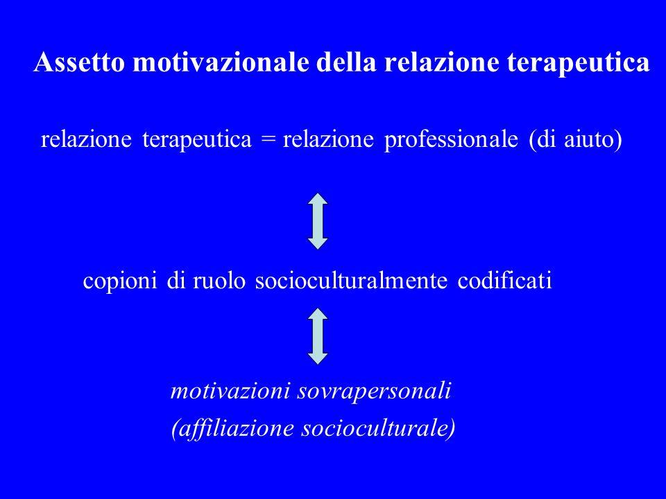 Assetto motivazionale della relazione terapeutica relazione terapeutica = relazione professionale (di aiuto) copioni di ruolo socioculturalmente codif