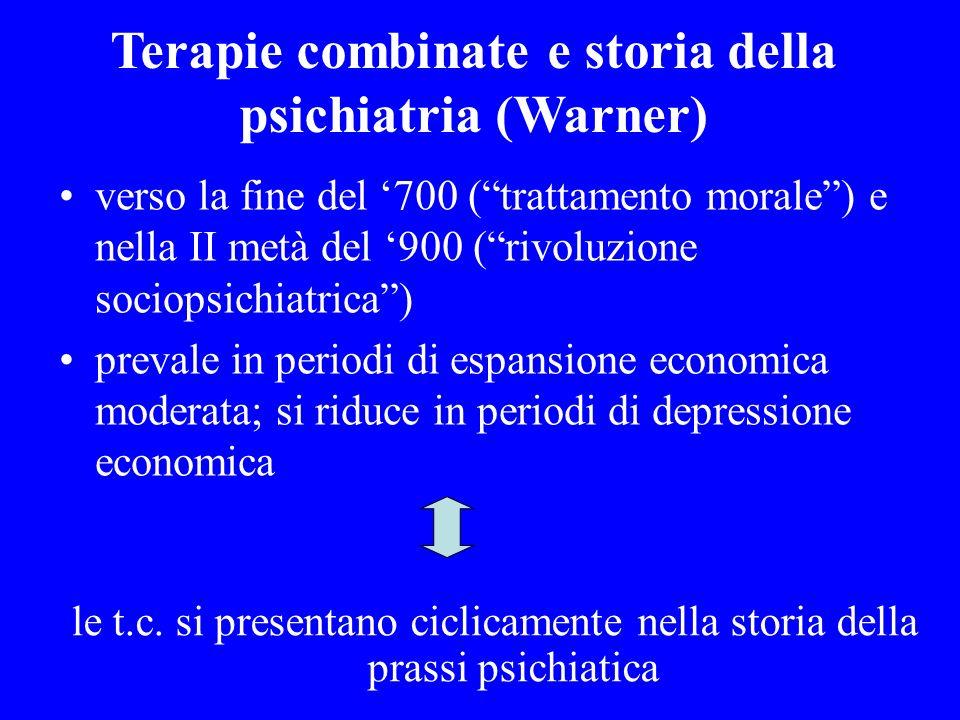 Terapie combinate e storia della psichiatria (Warner) verso la fine del 700 (trattamento morale) e nella II metà del 900 (rivoluzione sociopsichiatric