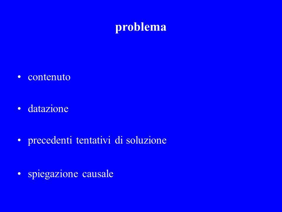 problema contenuto datazione precedenti tentativi di soluzione spiegazione causale