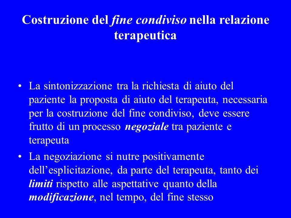 Costruzione del fine condiviso nella relazione terapeutica La sintonizzazione tra la richiesta di aiuto del paziente la proposta di aiuto del terapeut