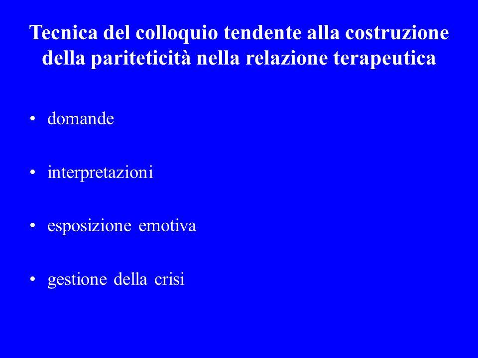 Tecnica del colloquio tendente alla costruzione della pariteticità nella relazione terapeutica domande interpretazioni esposizione emotiva gestione de