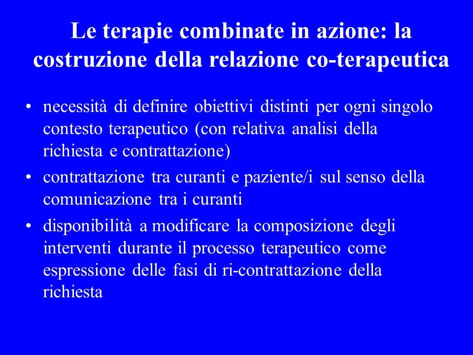 Le terapie combinate in azione: la costruzione della relazione co-terapeutica necessità di definire obiettivi distinti per ogni singolo contesto terap