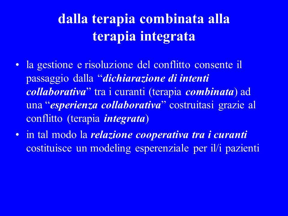 dalla terapia combinata alla terapia integrata la gestione e risoluzione del conflitto consente il passaggio dalla dichiarazione di intenti collaborat