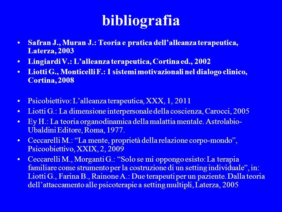 bibliografia Safran J., Muran J.: Teoria e pratica dellalleanza terapeutica, Laterza, 2003 Lingiardi V.: Lalleanza terapeutica, Cortina ed., 2002 Liot