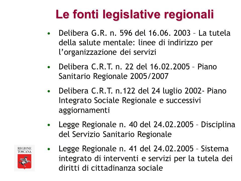 Le fonti legislative regionali Delibera G.R. n. 596 del 16.06.