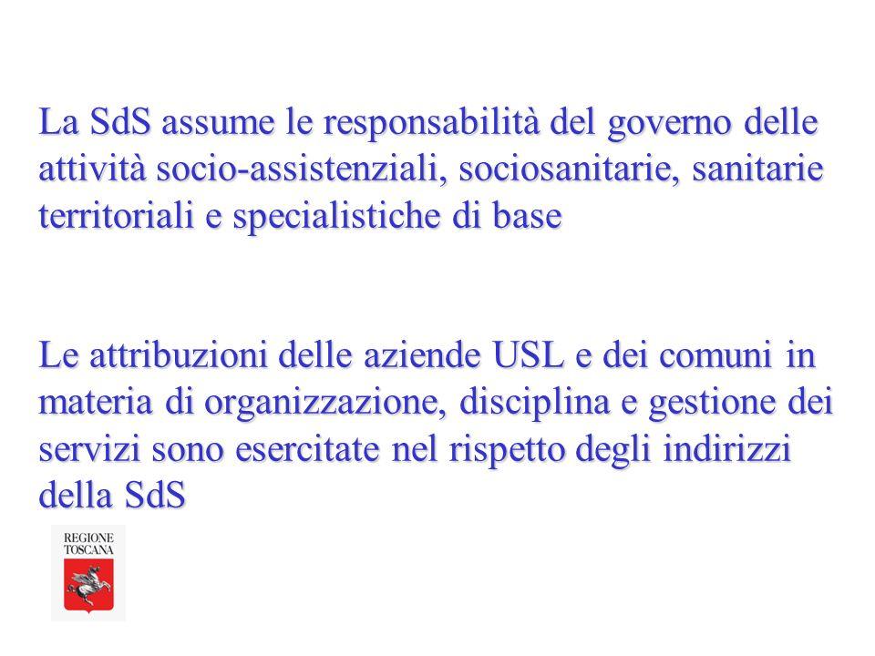 La SdS assume le responsabilità del governo delle attività socio-assistenziali, sociosanitarie, sanitarie territoriali e specialistiche di base Le attribuzioni delle aziende USL e dei comuni in materia di organizzazione, disciplina e gestione dei servizi sono esercitate nel rispetto degli indirizzi della SdS