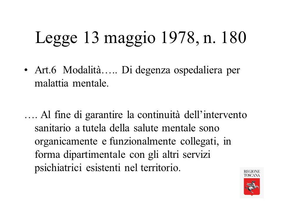 Legge 13 maggio 1978, n. 180 Art.6 Modalità….. Di degenza ospedaliera per malattia mentale.