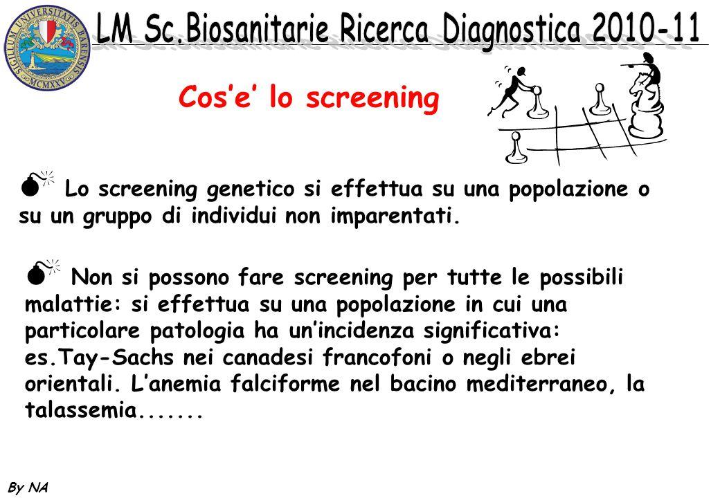 By NA Cose lo screening Lo screening genetico si effettua su una popolazione o su un gruppo di individui non imparentati. Non si possono fare screenin