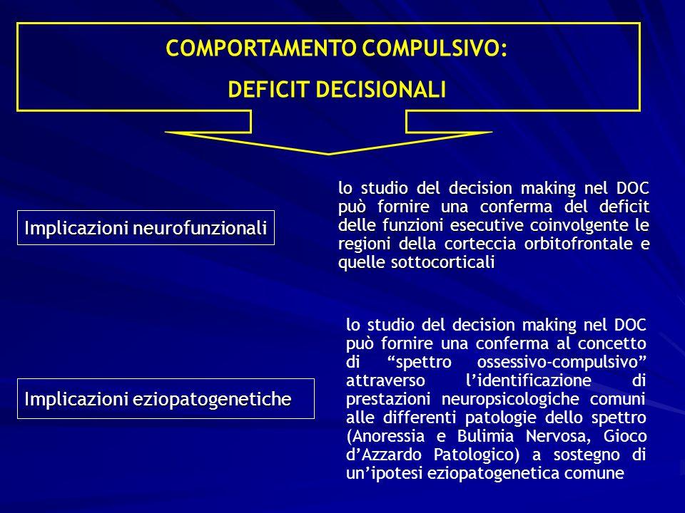 Implicazioni neurofunzionali lo studio del decision making nel DOC può fornire una conferma del deficit delle funzioni esecutive coinvolgente le regio