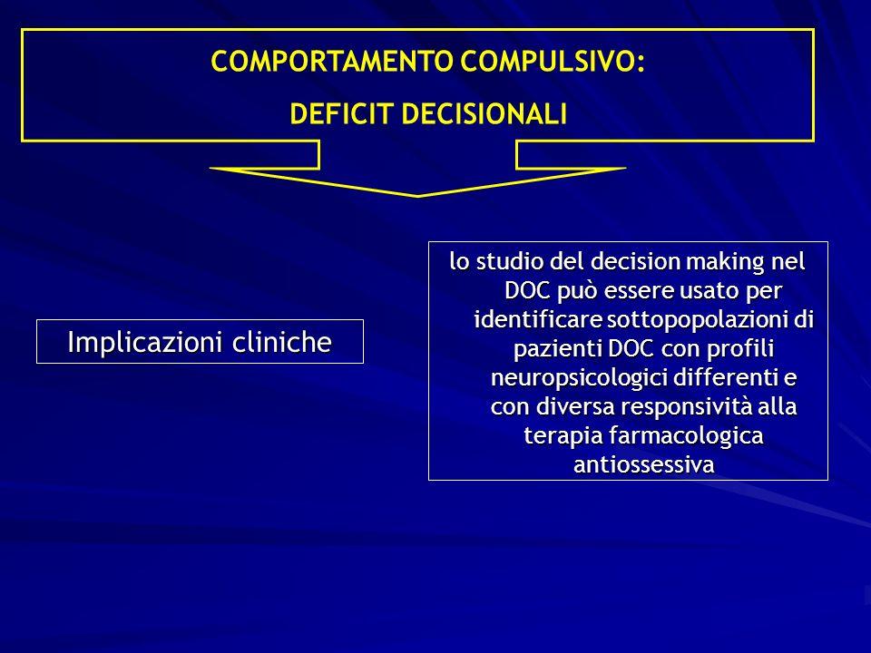 Implicazioni cliniche lo studio del decision making nel DOC può essere usato per identificare sottopopolazioni di pazienti DOC con profili neuropsicologici differenti e con diversa responsività alla terapia farmacologica antiossessiva COMPORTAMENTO COMPULSIVO: DEFICIT DECISIONALI