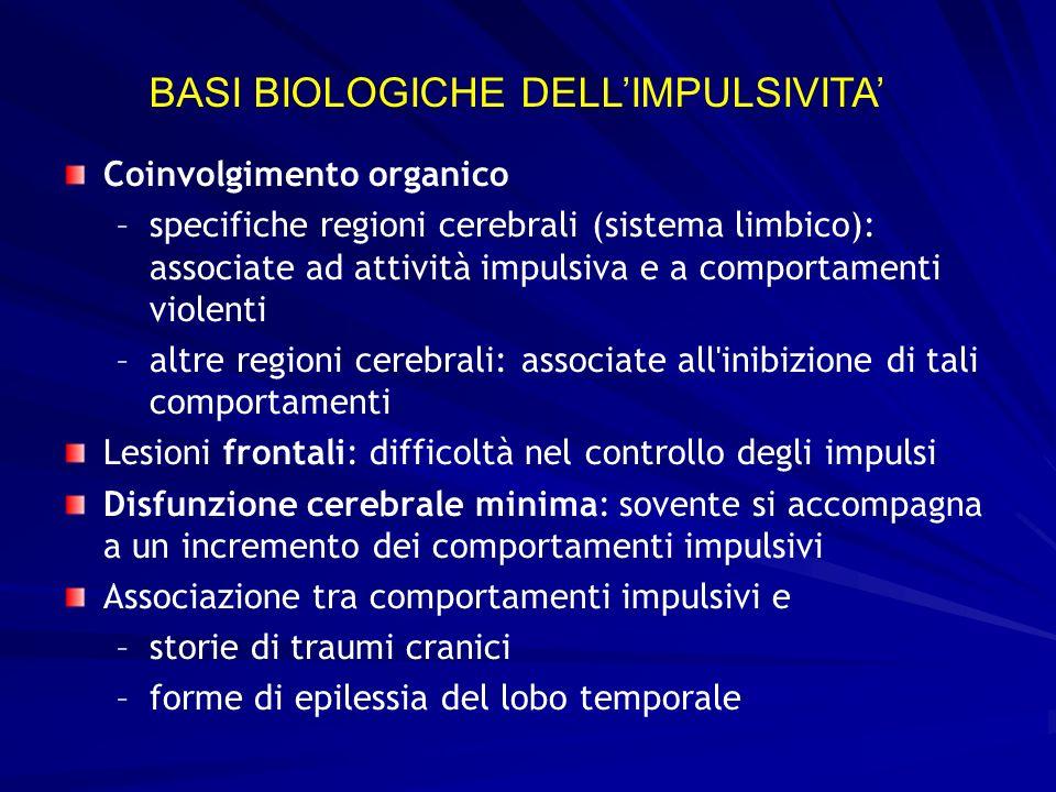 Coinvolgimento organico – –specifiche regioni cerebrali (sistema limbico): associate ad attività impulsiva e a comportamenti violenti – –altre regioni