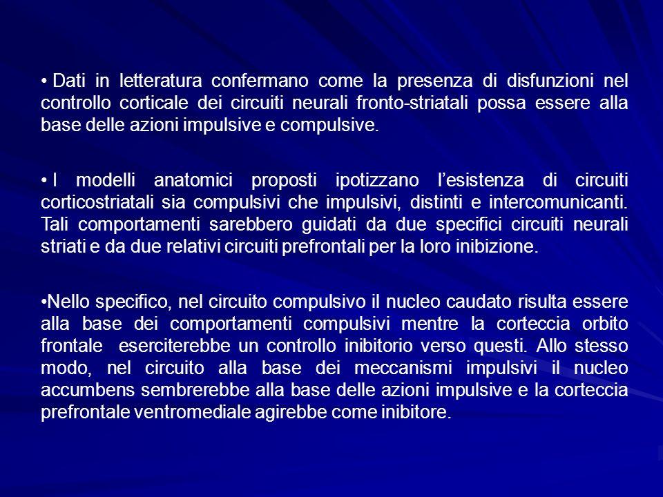Dati in letteratura confermano come la presenza di disfunzioni nel controllo corticale dei circuiti neurali fronto-striatali possa essere alla base de