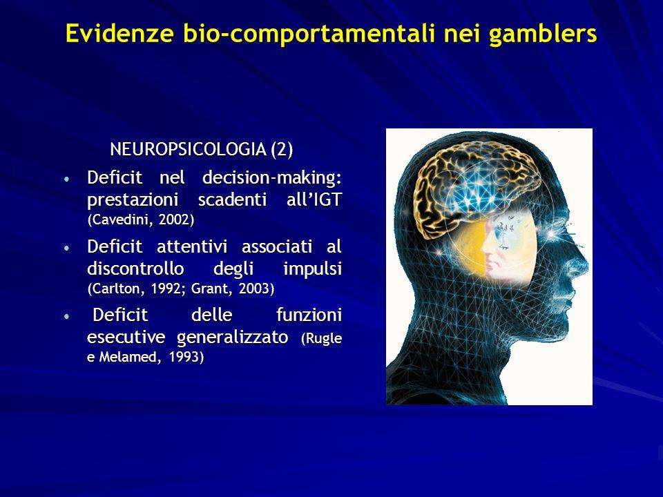 NEUROPSICOLOGIA (2) Deficit nel decision-making: prestazioni scadenti allIGT (Cavedini, 2002) Deficit nel decision-making: prestazioni scadenti allIGT