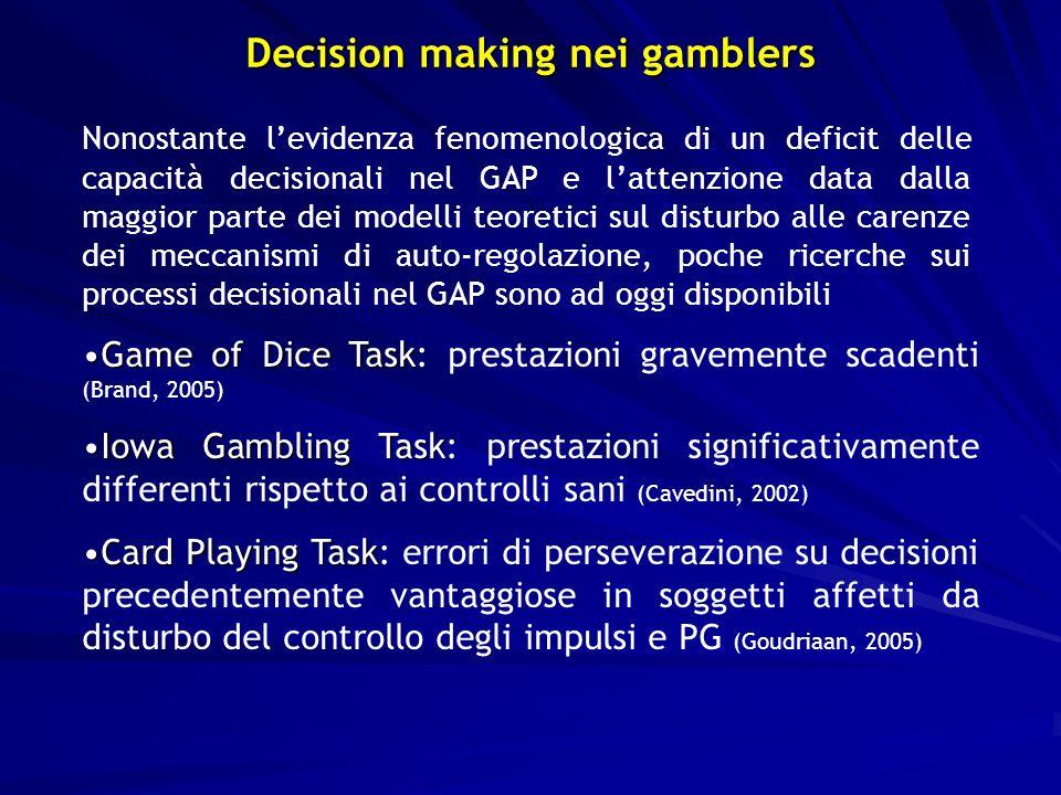 Game of Dice TaskGame of Dice Task: prestazioni gravemente scadenti (Brand, 2005) Iowa Gambling TaskIowa Gambling Task: prestazioni significativamente