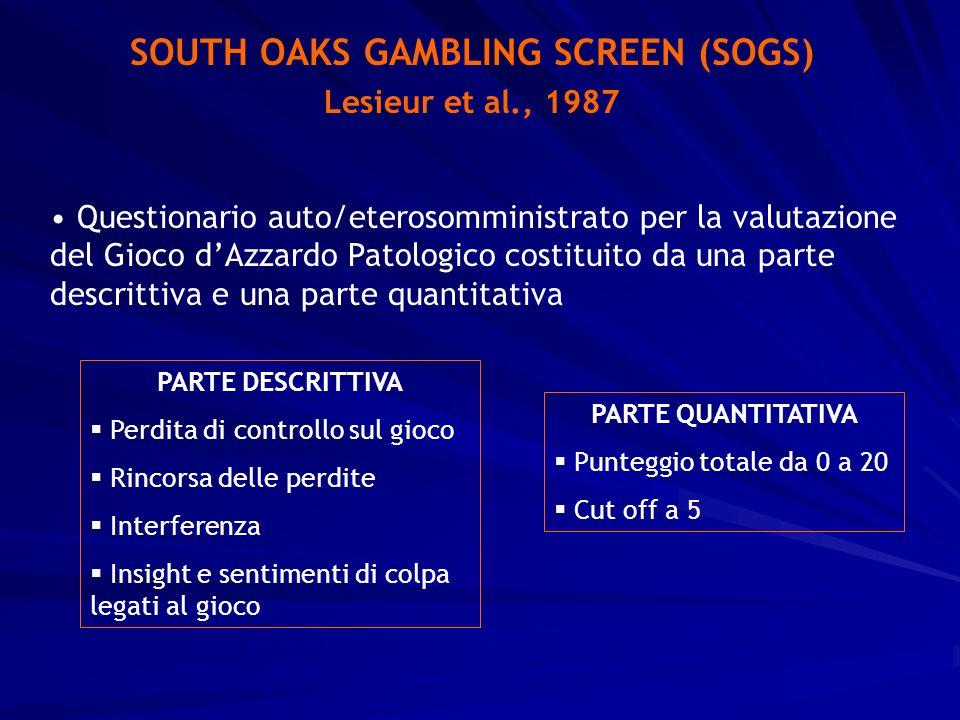 SOUTH OAKS GAMBLING SCREEN (SOGS) Lesieur et al., 1987 Questionario auto/eterosomministrato per la valutazione del Gioco dAzzardo Patologico costituit
