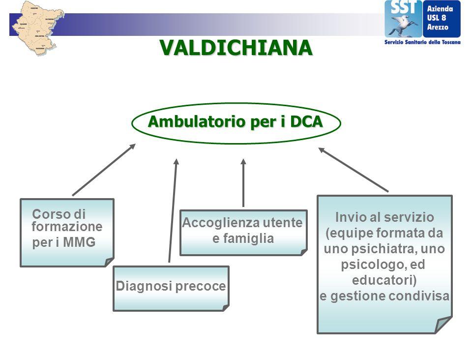 Corso di formazione per i MMG VALDICHIANA Diagnosi precoce Accoglienza utente e famiglia Invio al servizio (equipe formata da uno psichiatra, uno psic