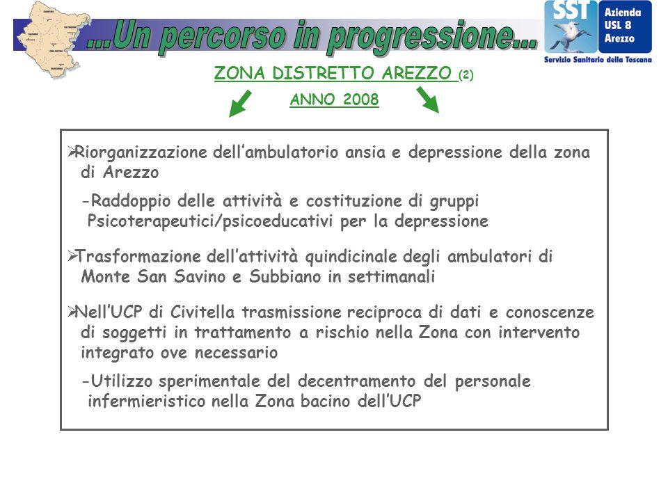 ANNO 2008 ZONA DISTRETTO AREZZO (2) Riorganizzazione dellambulatorio ansia e depressione della zona di Arezzo -Raddoppio delle attività e costituzione