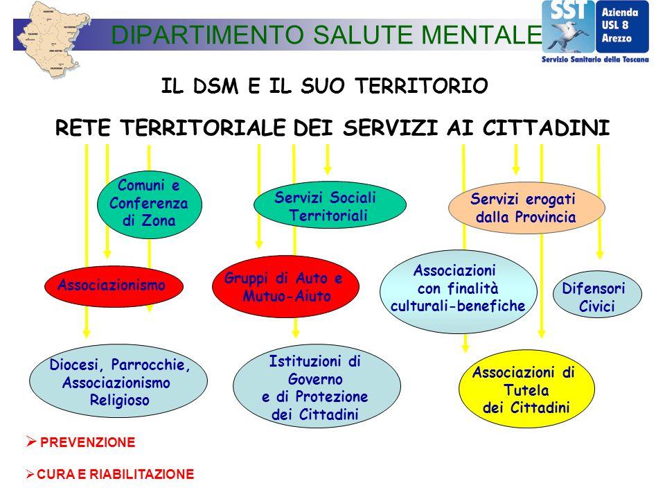 IL DSM E IL SUO TERRITORIO RETE TERRITORIALE DEI SERVIZI AI CITTADINI Comuni e Conferenza di Zona Servizi Sociali Territoriali Servizi erogati dalla P