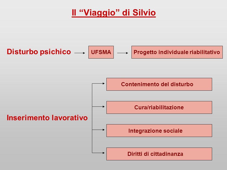 Il Viaggio di Silvio Disturbo psichico UFSMAProgetto individuale riabilitativo Contenimento del disturbo Cura/riabilitazione Integrazione sociale Inserimento lavorativo Diritti di cittadinanza