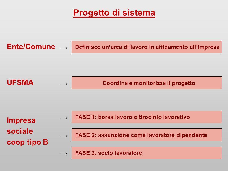 Progetto di sistema Ente/Comune Definisce unarea di lavoro in affidamento allimpresa UFSMA Coordina e monitorizza il progetto Impresa sociale coop tipo B FASE 1: borsa lavoro o tirocinio lavorativo FASE 2: assunzione come lavoratore dipendente FASE 3: socio lavoratore