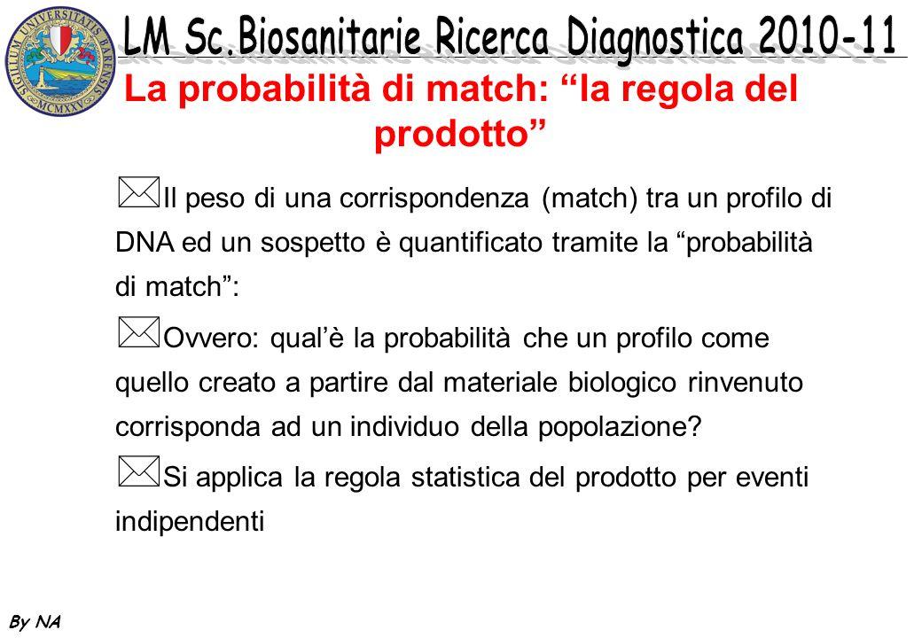 La probabilità di match: la regola del prodotto * Il peso di una corrispondenza (match) tra un profilo di DNA ed un sospetto è quantificato tramite la