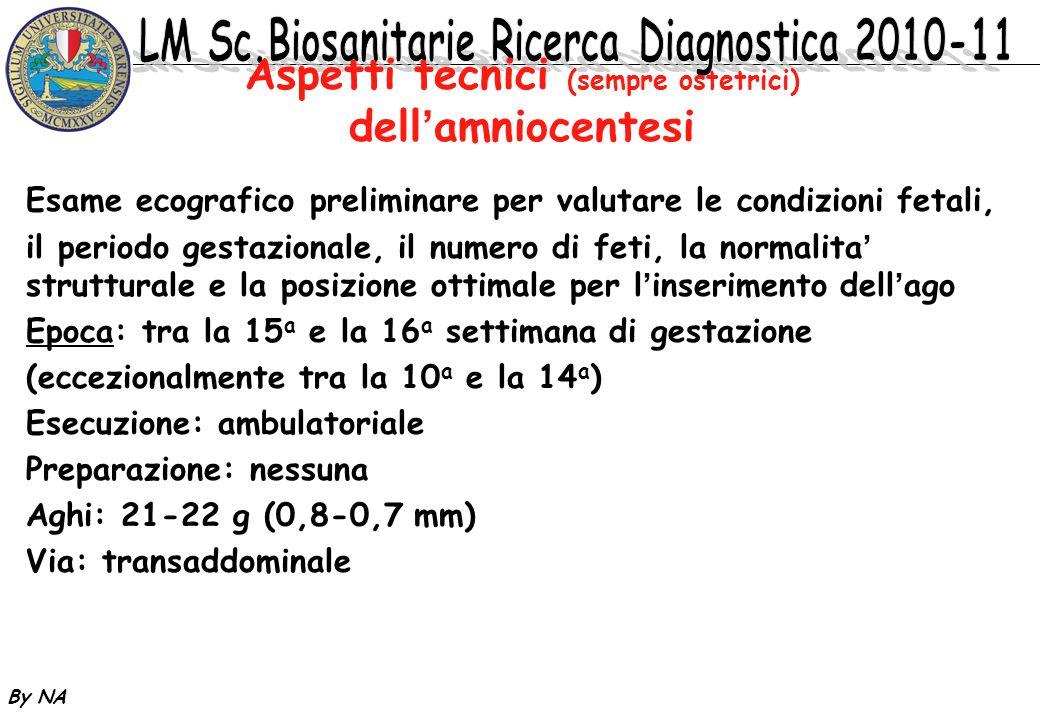 By NA Aspetti tecnici (sempre ostetrici) dellamniocentesi Esame ecografico preliminare per valutare le condizioni fetali, il periodo gestazionale, il