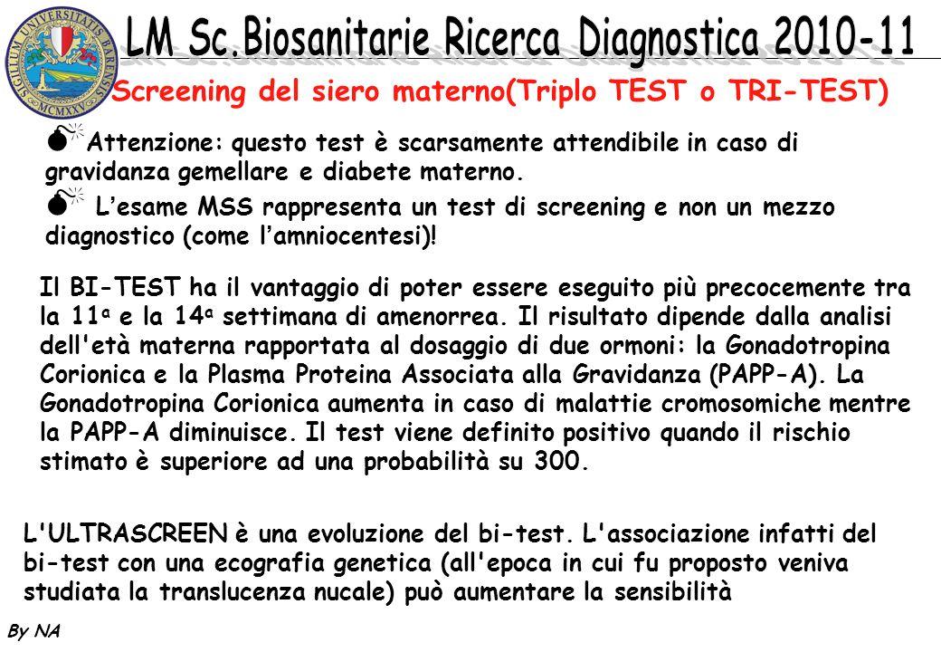 By NA Il BI-TEST ha il vantaggio di poter essere eseguito più precocemente tra la 11 a e la 14 a settimana di amenorrea. Il risultato dipende dalla an