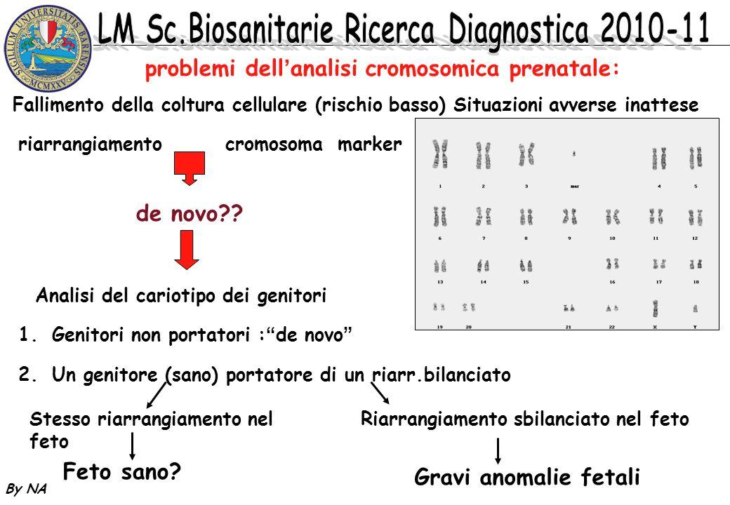 By NA problemi dellanalisi cromosomica prenatale: riarrangiamento cromosoma marker de novo?? Analisi del cariotipo dei genitori 1.Genitori non portato