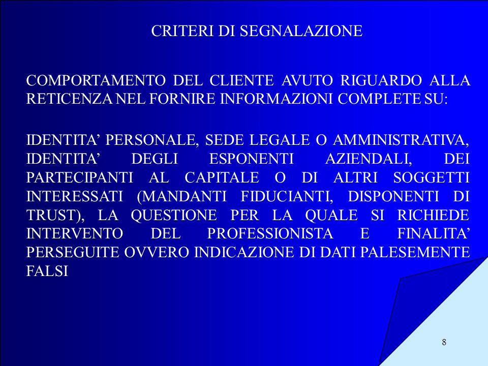 8 CRITERI DI SEGNALAZIONE COMPORTAMENTO DEL CLIENTE AVUTO RIGUARDO ALLA RETICENZA NEL FORNIRE INFORMAZIONI COMPLETE SU: IDENTITA PERSONALE, SEDE LEGAL