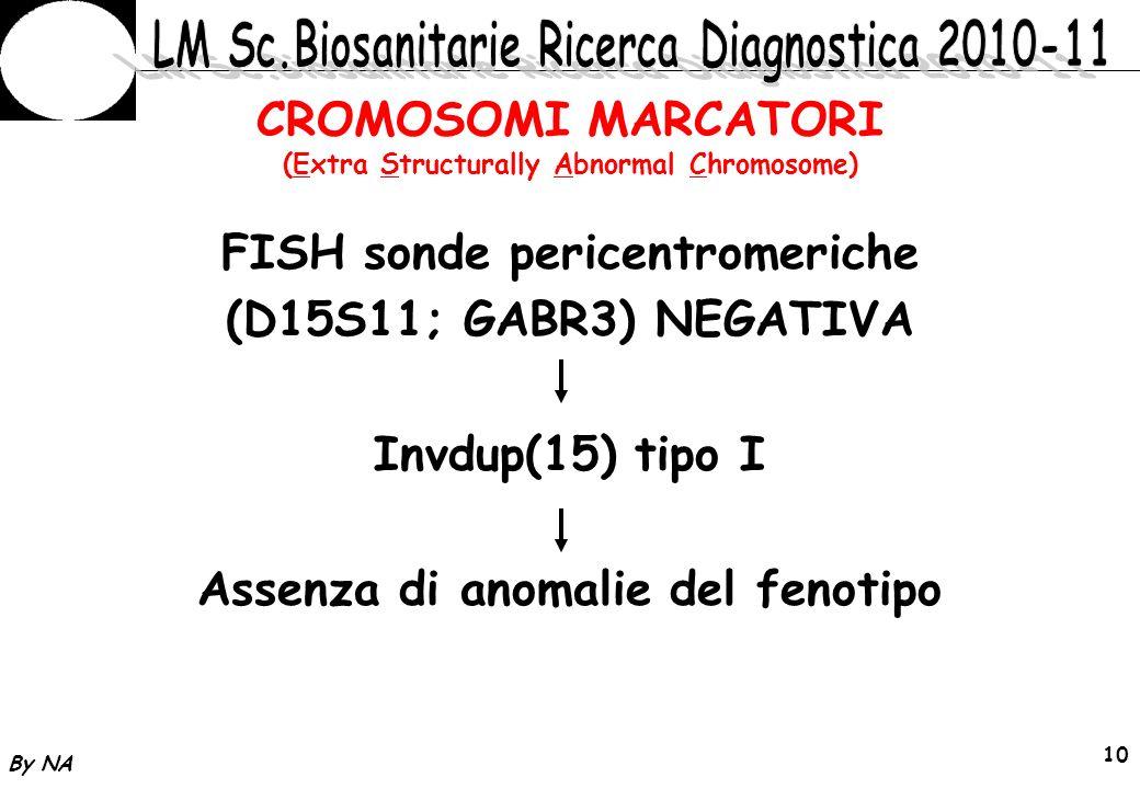 By NA 11 CROMOSOMI MARCATORI (Extra Structurally Abnormal Chromosome) Rischio di Disomia Uniparentale 15q11-q13 da origine postzigotica del marcatore Materna Paterna s.