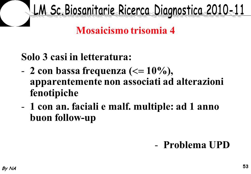 By NA 54 Mosaicismo trisomia 4 Counselling Ecografia/Ecocardiografia fetale Prelievo sangue funicolare per esame cariotipo ed esclusione UPD In caso di interruzione: Esame citogenetico su tessuti diversi