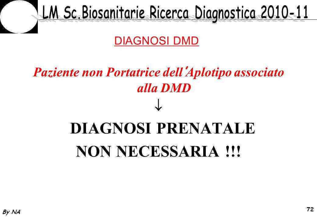 By NA 73 DIAGNOSI DMD Paziente di 26 anni in gravidanza (13 settimane) con due figli affetti da DMD Analisi Figli No Delezione degli esoni Studio di linkage