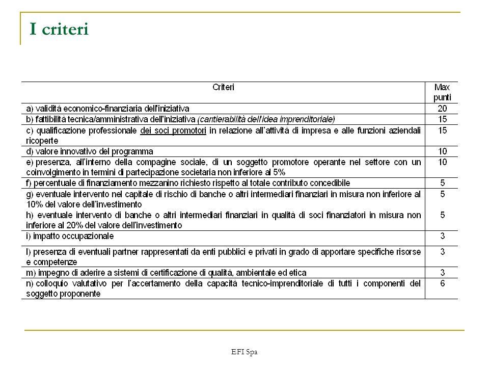 EFI Spa I criteri