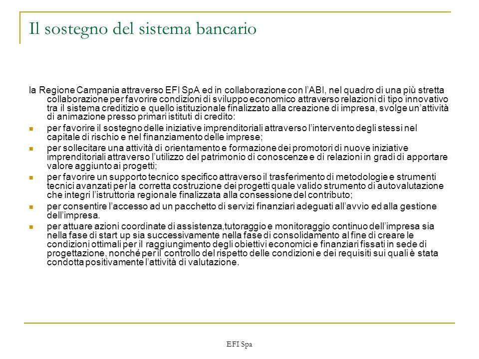 EFI Spa Il sostegno del sistema bancario la Regione Campania attraverso EFI SpA ed in collaborazione con lABI, nel quadro di una più stretta collabora