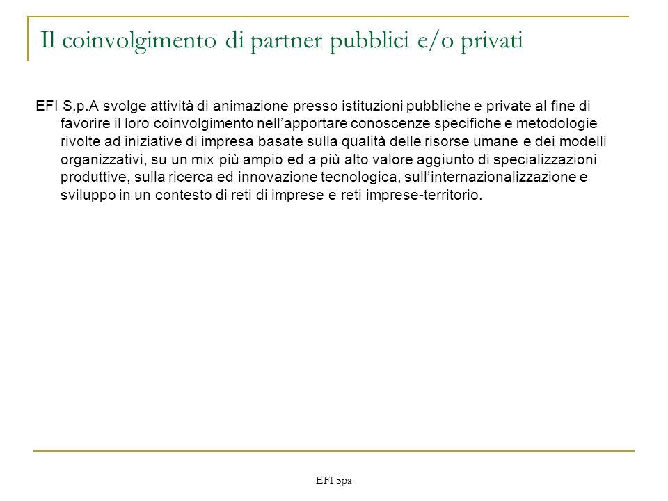 EFI Spa Il coinvolgimento di partner pubblici e/o privati EFI S.p.A svolge attività di animazione presso istituzioni pubbliche e private al fine di fa