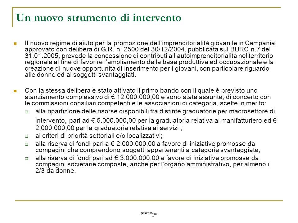 EFI Spa Un nuovo strumento di intervento Il nuovo regime di aiuto per la promozione dellimprenditorialità giovanile in Campania, approvato con deliber